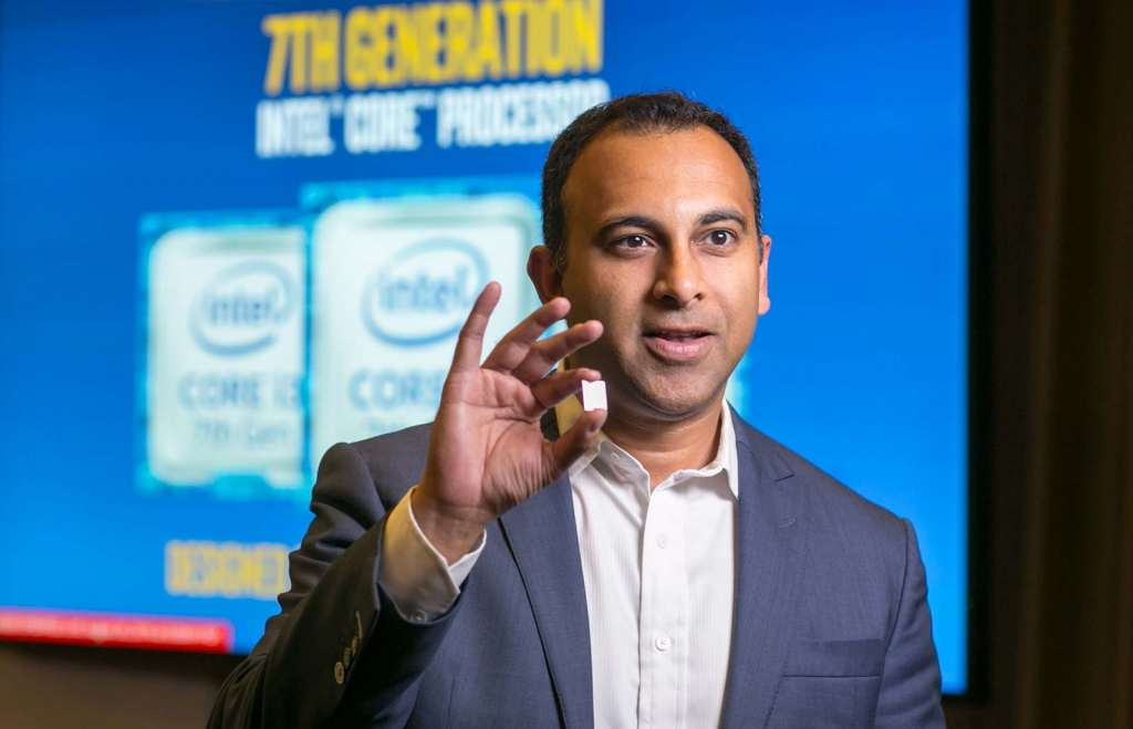 Intel's Navin Shanoy holds up the new processor. Credit: Intel