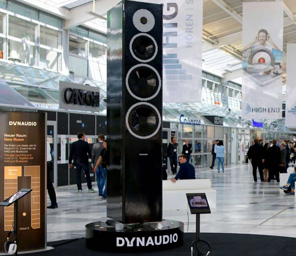 Dynaudio's Lego speaker, shown at the Munich HiFi show. Image found on Dynaudio's Facebook page.