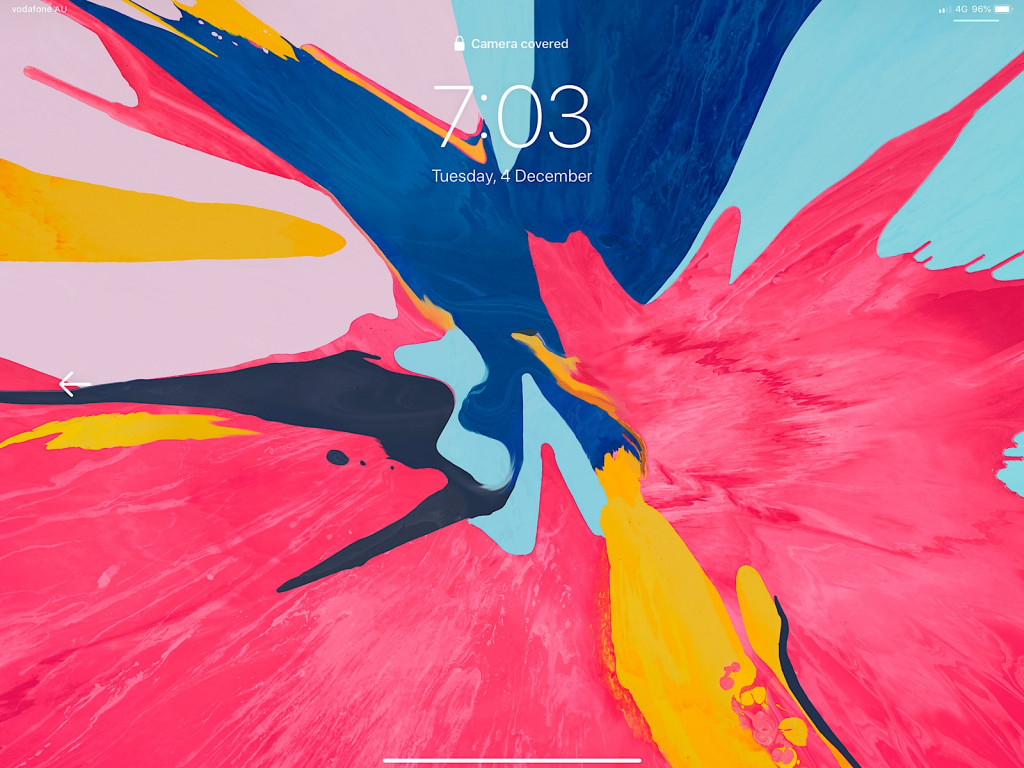 The lock screen of the 2018 iPad Pro will tell you with words and an arrow when the camera is blocked.