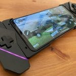 Asus ROG Phone II with the case and controllers