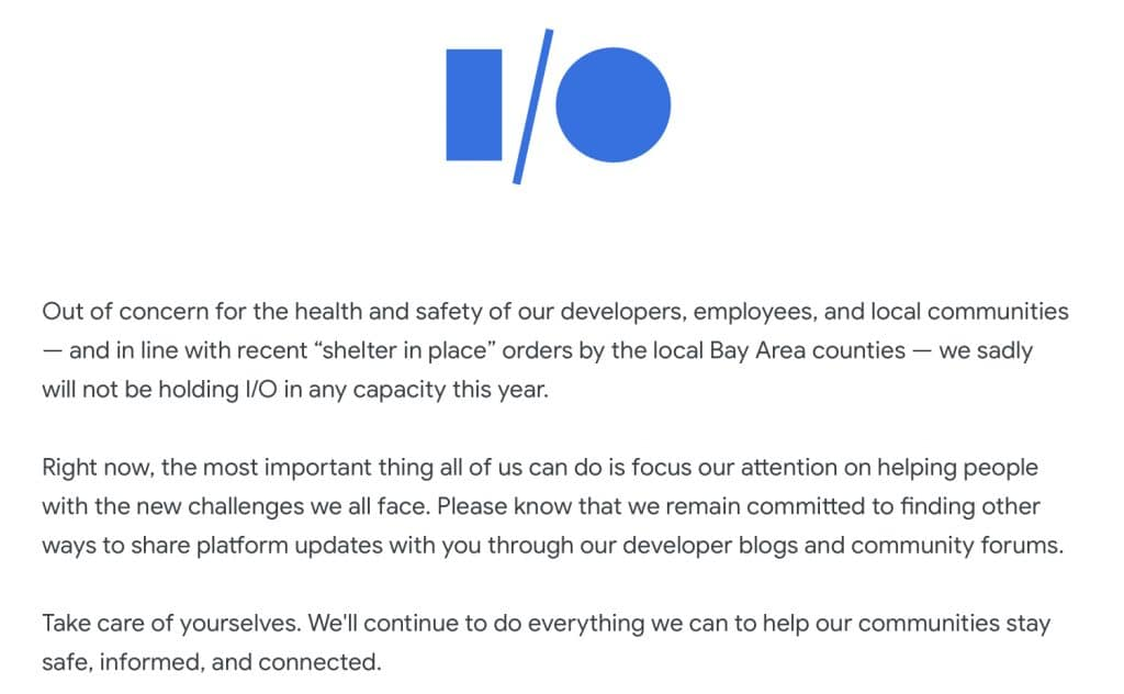 Google I/O 2020 cancellation