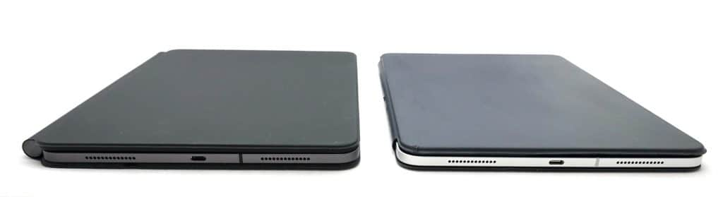 Magic Keyboard (left) compared to the Smart Keyboard Folio (right)