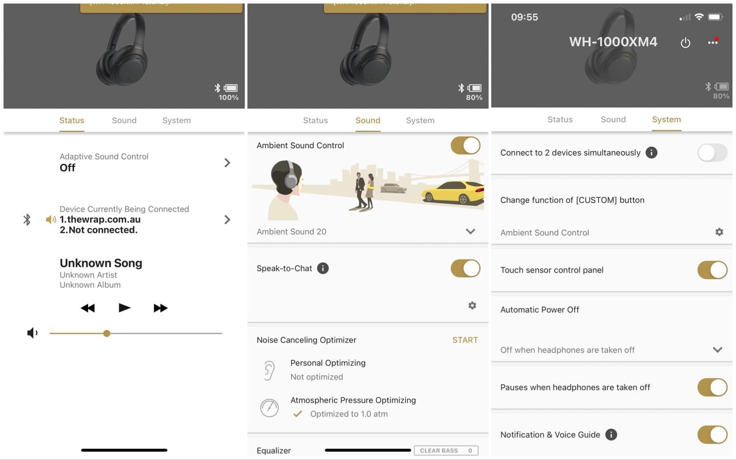 The menus in Sony's new Headphones app for the WH-1000XM4