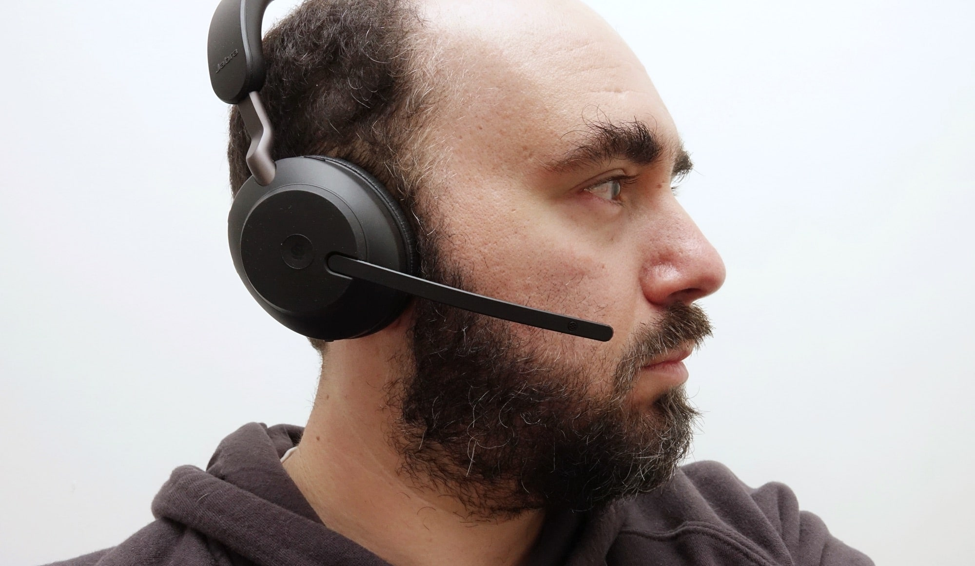 Wearing the Jabra Evolve2 65 wireless headphones