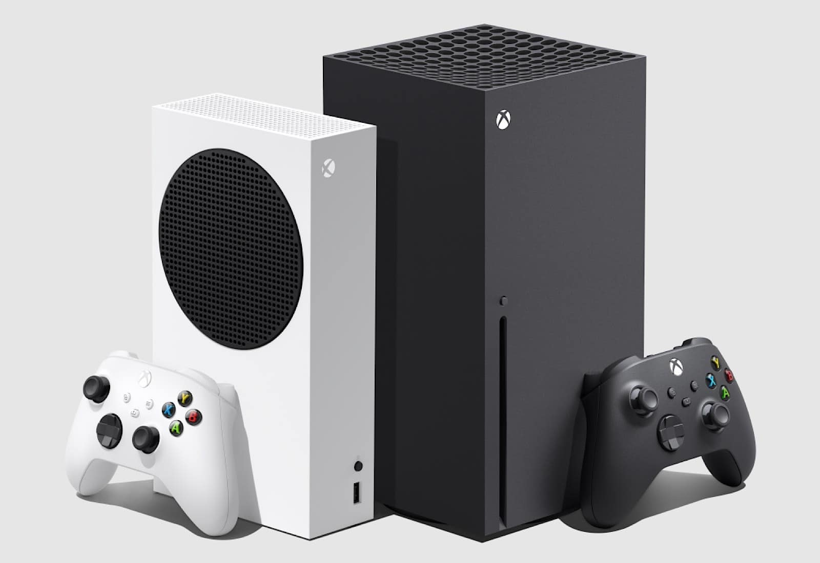 The Xbox Series X (left) next to the Xbox Series S (right)