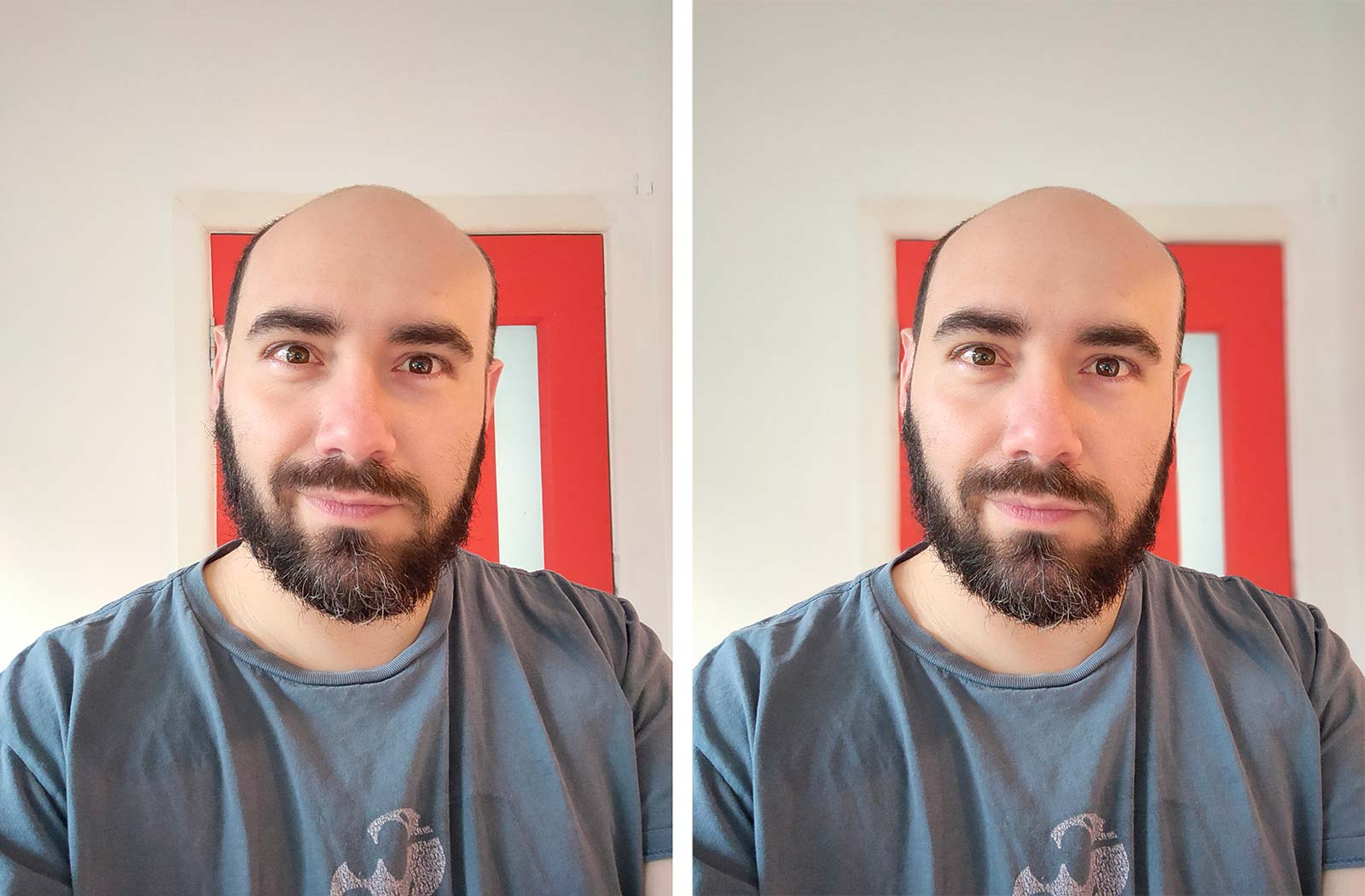 Images from the X3 SuperZoom selfie camera: left as standard, right with portrait mode.