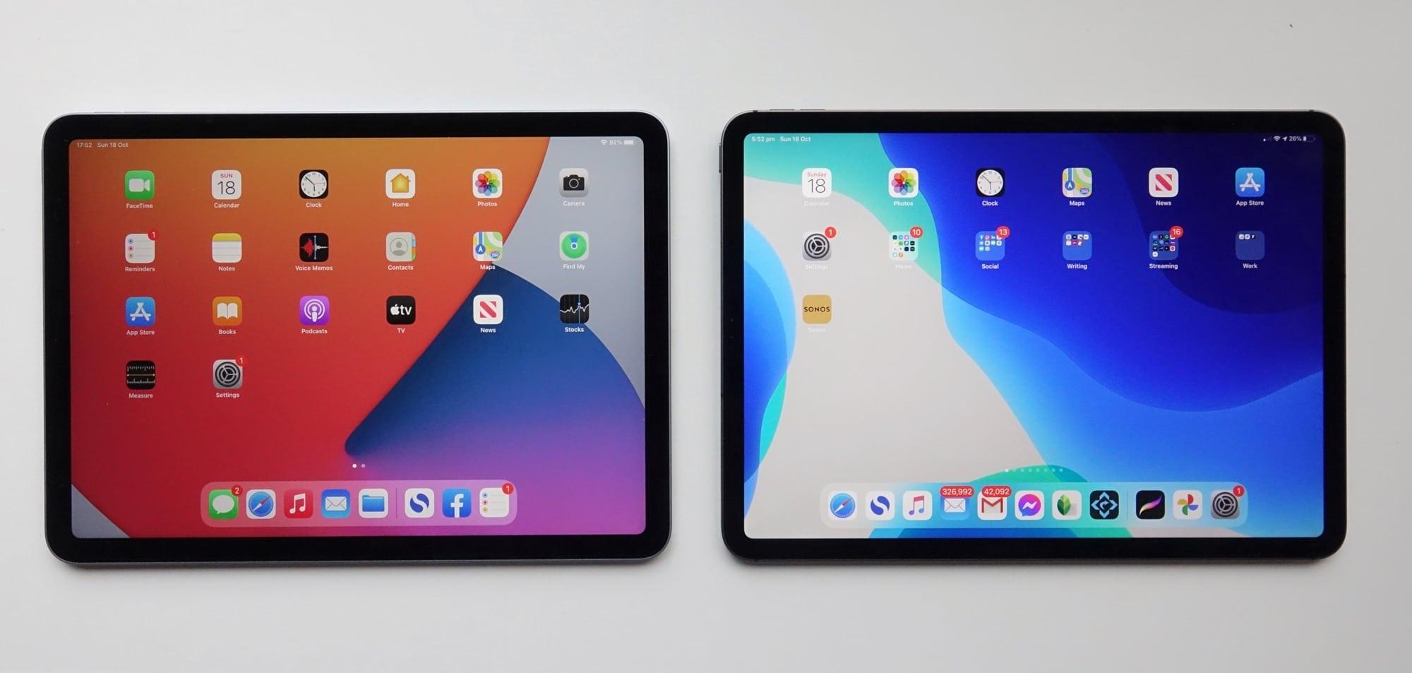 Apple iPad Air (left) vs Apple iPad Pro (right)