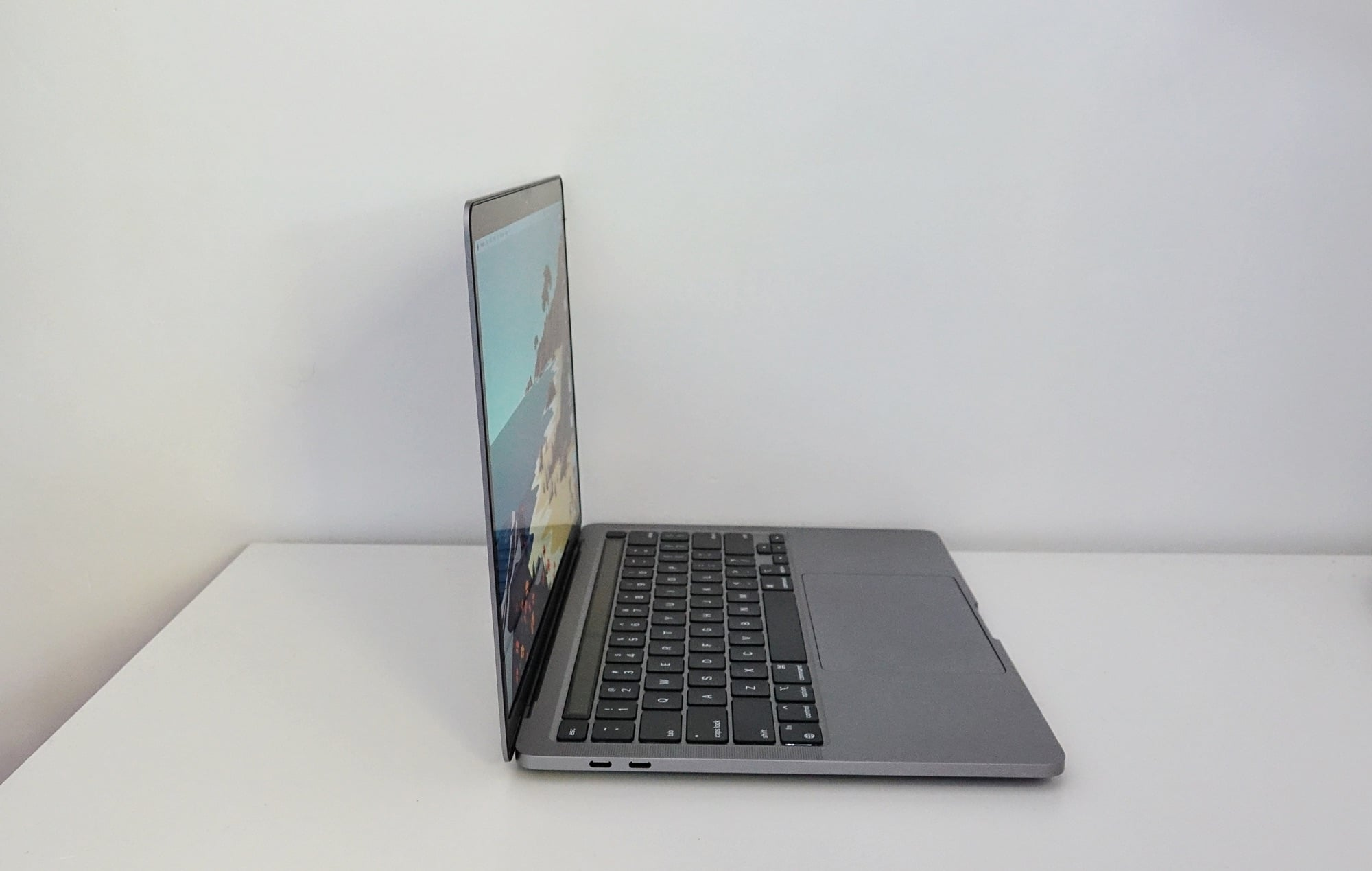 The M1 MacBook Pro from the side.
