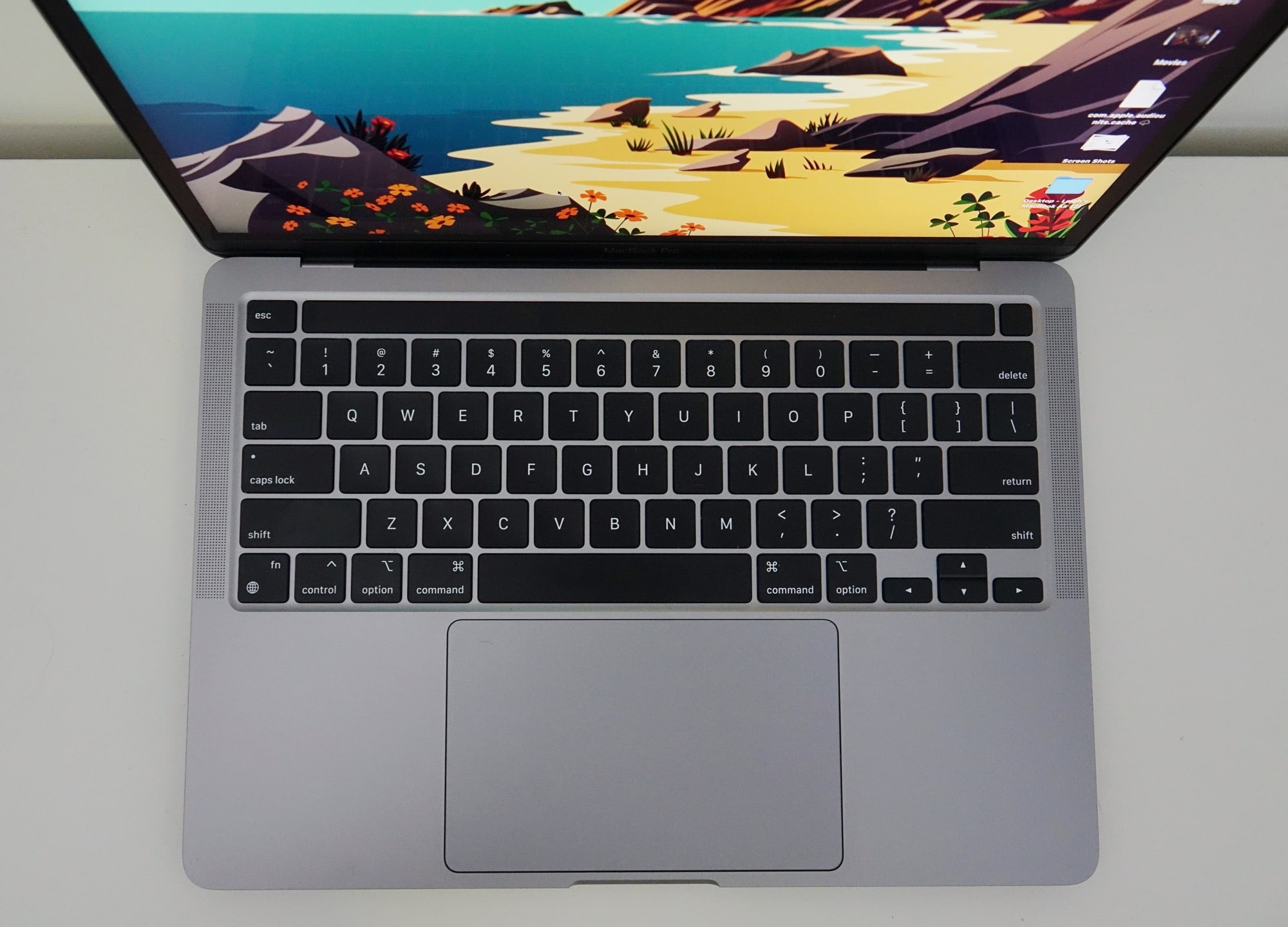 Looking down on the 13 inch MacBook Pro