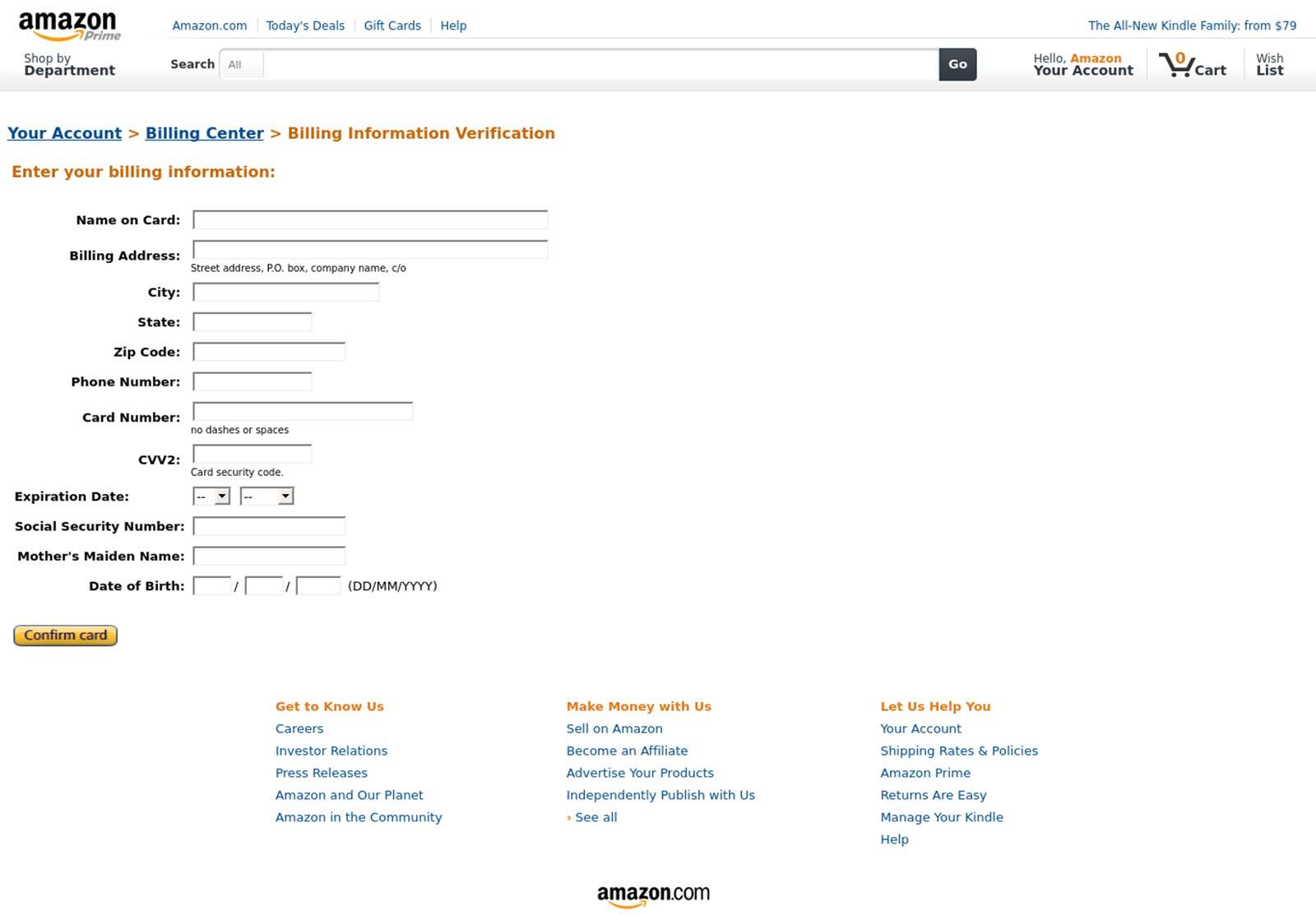 Fake Amazon for phishing