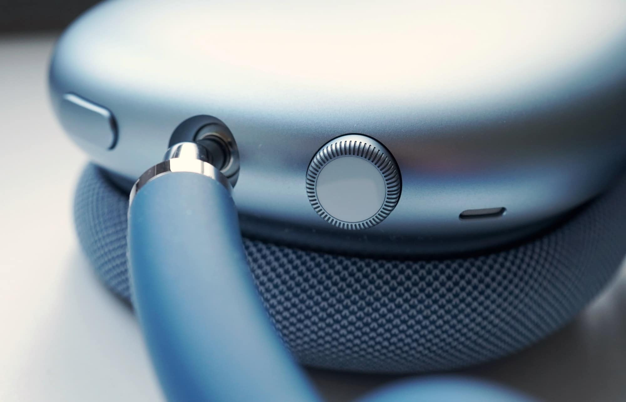 A close-up of the AirPods Max controls