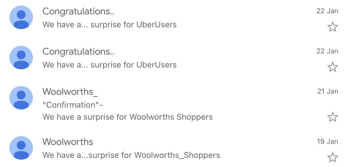 The Uber scams look mighty close to the Woolworths scams.