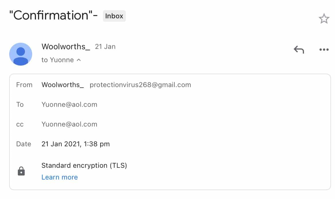This doesn't seem like a Woolworths email.