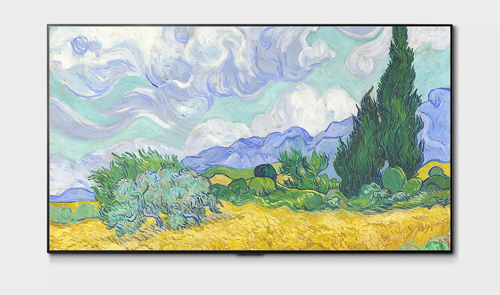 The LG G1 OLED TV is kind of built to look like a gallery frame, but uses organic light emitting diodes for the visuals.