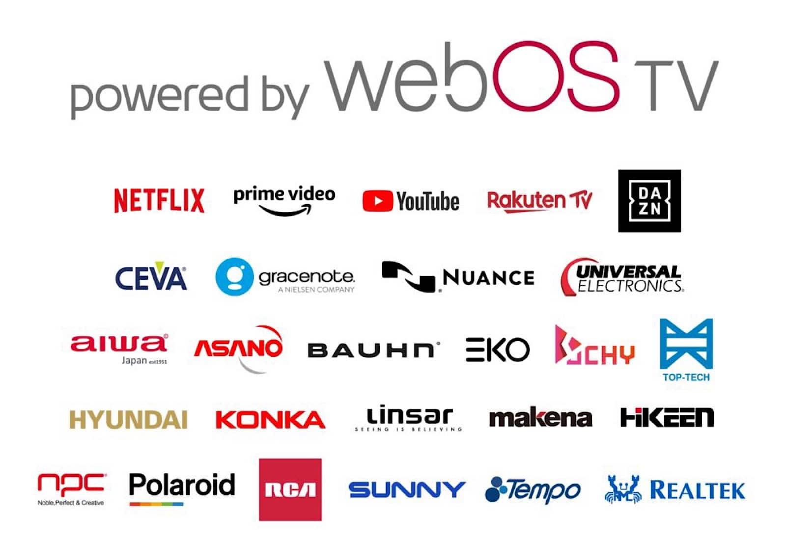Brands that will work with webOS in the coming months