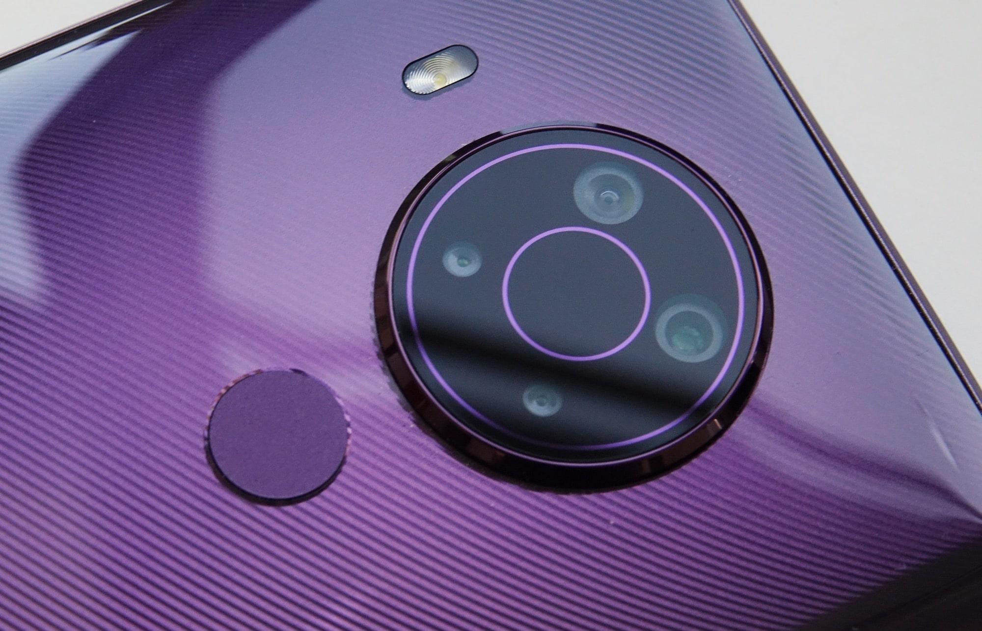The fingerprint sensor and the cameras on the Nokia 5.4